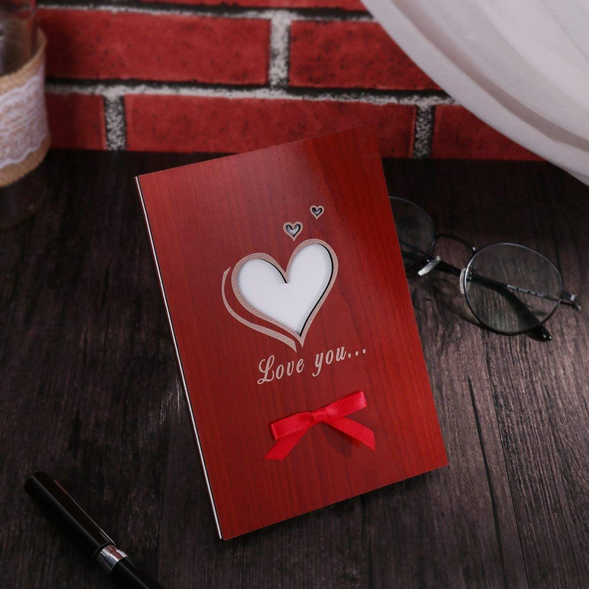 799 Amazon Love You Card Handmade For Anniversary Birthday Valentine Wedding Wooden Greeting Cards Any Occasion Office Products