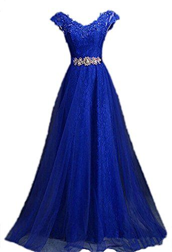 dcb60f469f4 Generic Women s V Neck Cap Sleeve Lace Evening Gowns Part... https