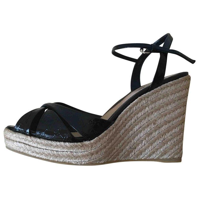 3fb982a58 black Patent leather GUCCI Sandals - Vestiaire Collective