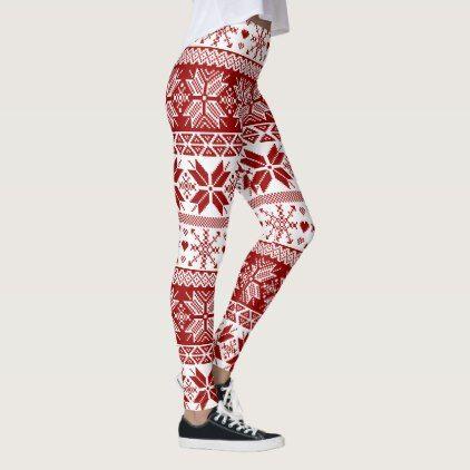 Dark Red Winter Fair Isle Pattern Leggings - winter gifts style ...