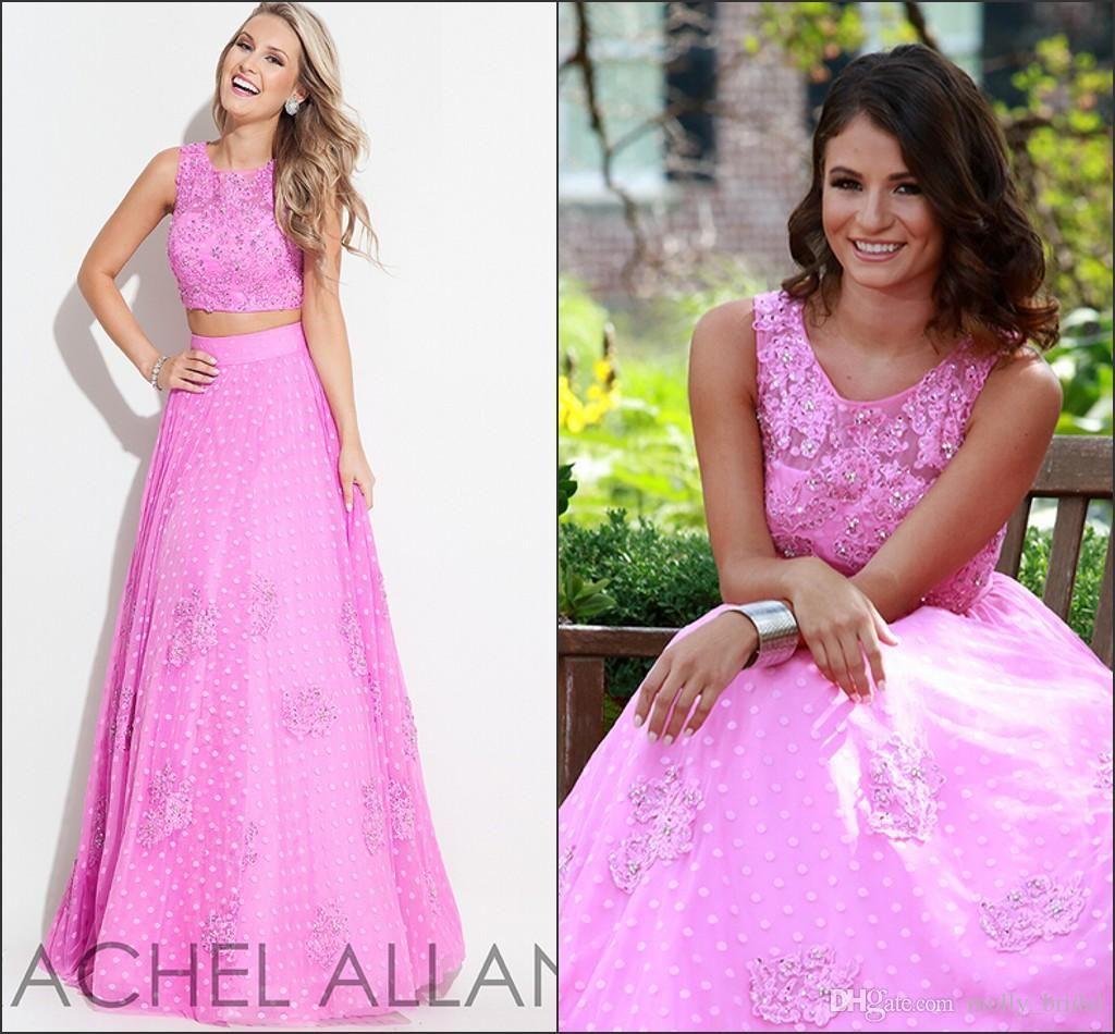 2016 Rachel Allan Two Pieces Prom Dresses Fuchsia Color Lace ...