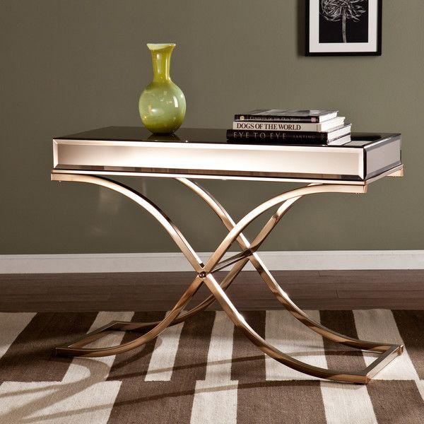 Upton Home Annabelle Champagne Mirrored Sofa/ Console Table ($283) ❤ Liked  On Polyvore