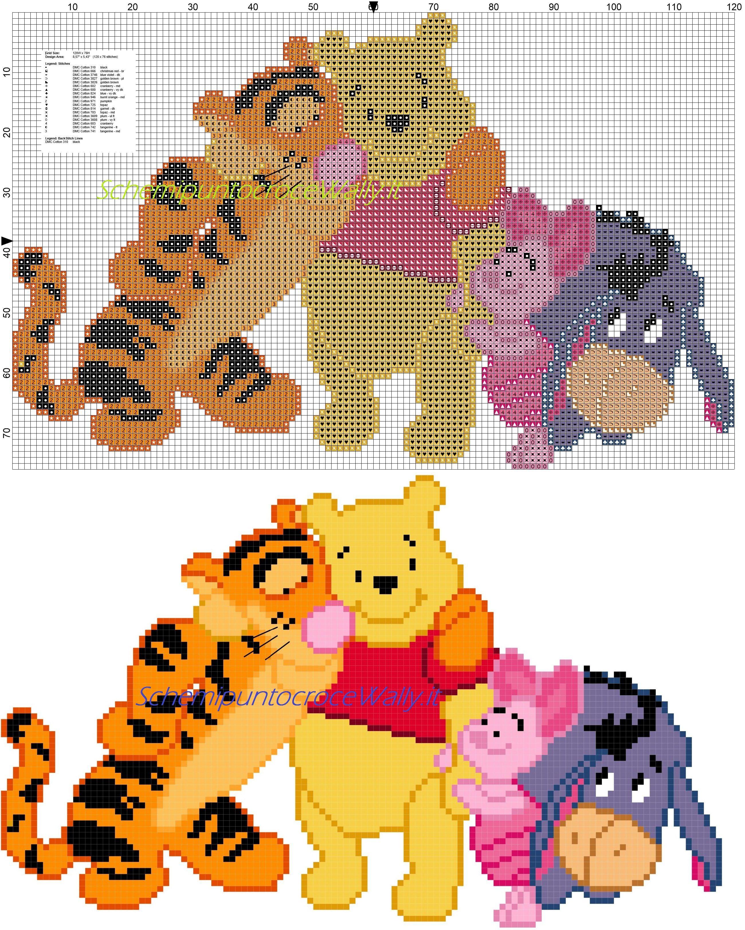 Winnie the Pooh e amici abbracciati schema punto croce
