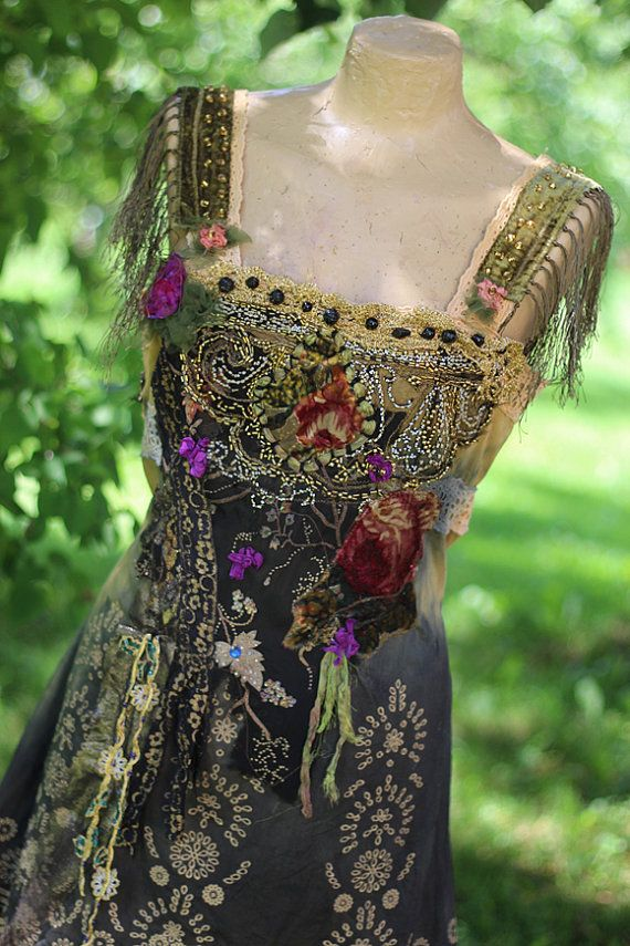 RESREVED for C. Montmartre dress - -bohemian romantic dress, tunic, altered couture, embroidered and beaded details, vintage textiles