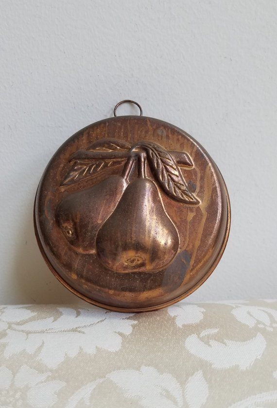 vintage copper mold with pears, kitchen wall decor, metal fruit