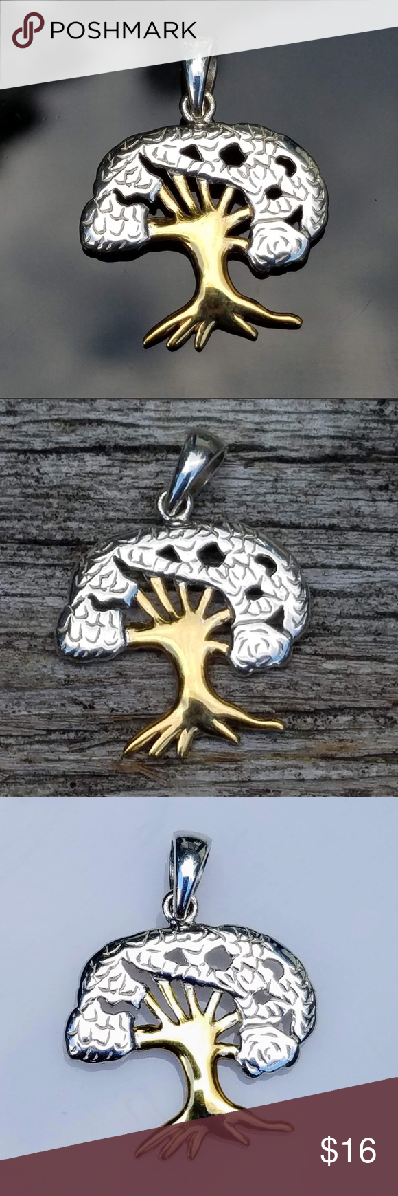 Silver u gold tree of life necklace set boutique in