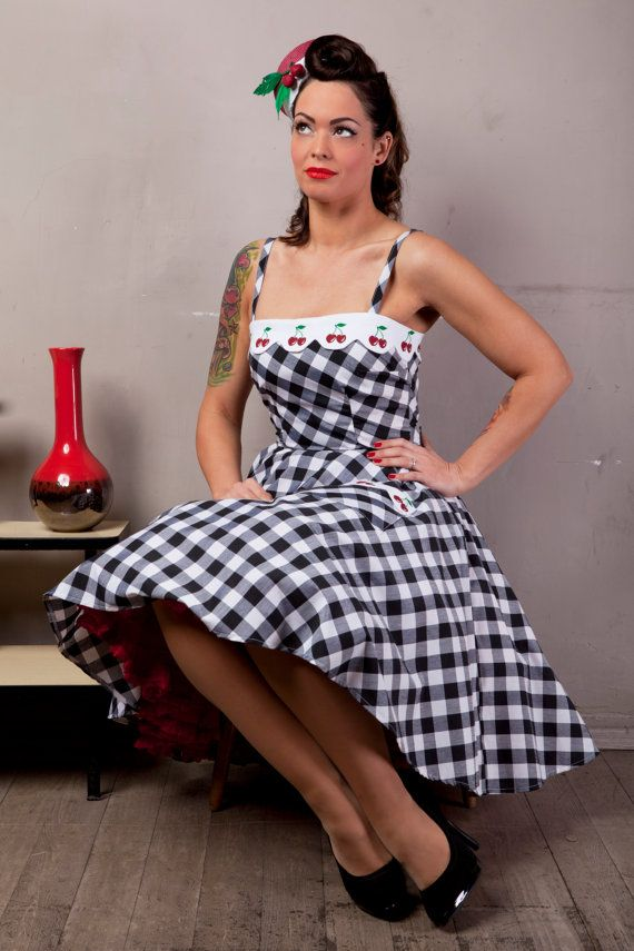 Hey, I found this really awesome Etsy listing at https://www.etsy.com/listing/189028715/cherry-and-checkerboard-dress-by-ticci