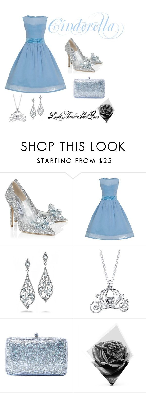 """Cinderella - Disney Princesses 1"" by lookthereshegoes ❤ liked on Polyvore featuring Jimmy Choo, Bling Jewelry, Disney, Sylvia Toledano and Maxwell Dickson"