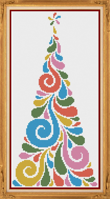 Modern Christmas Tree Counted Cross Stitch Pattern X Stitch Etsy In 2020 Cross Stitch Tree Counted Cross Stitch Patterns Cross Christmas Tree