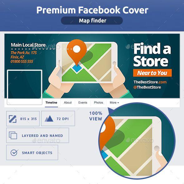 Map Finder Facebook Cover Template PSD   Facebook Timeline Cover