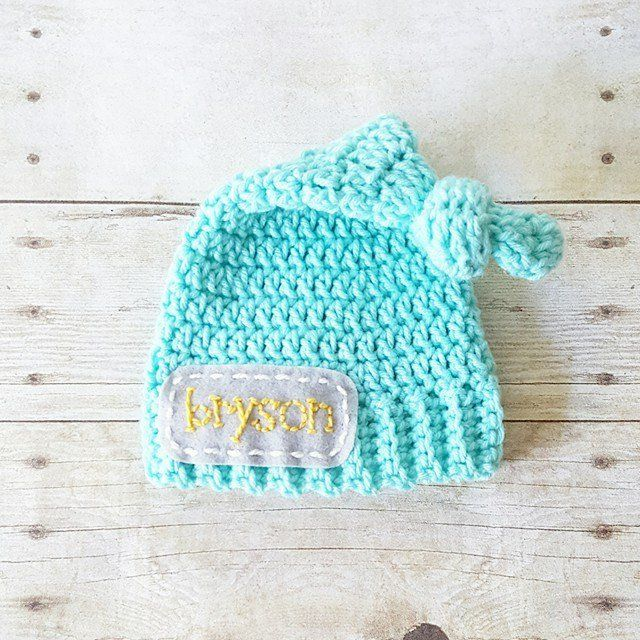 Crochet Personalized Name Beanie Hat Top Knot Newsboy Custom Customized  Infant Newborn Baby Toddler Child Handmade Photography Photo Prop Baby  Shower Gift ... f29fca253355