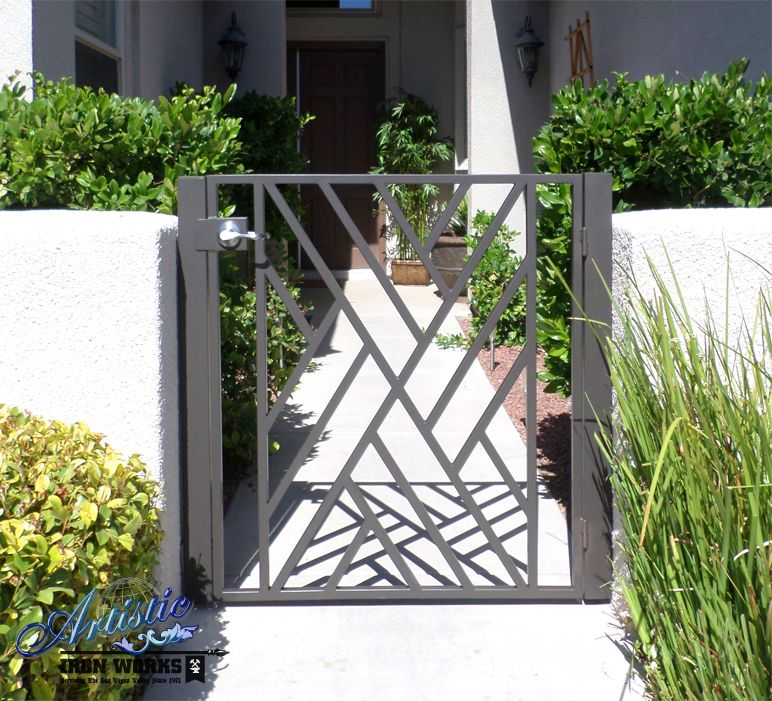 Wrought Iron Gates And Steel Barriers: Modern Crisscross Wrought Iron Courtyard Entry Gate