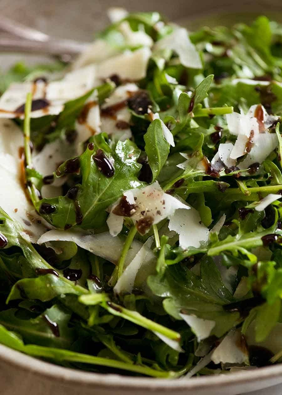 Rocket Salad With Balsamic Dressing And Shaved Parmesan Recipe Rocket Salad Salad With Balsamic Dressing Salad Dressing Recipes Homemade
