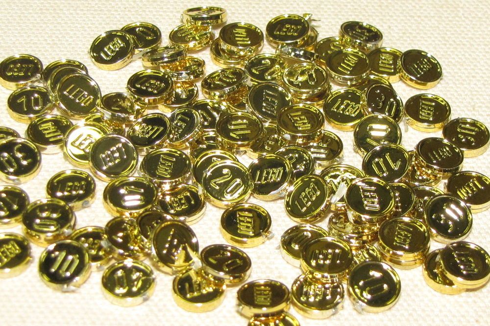 LEGO LOT OF 100 NEW RARE PIRATE CHROME GOLD COINS TREASURE ...