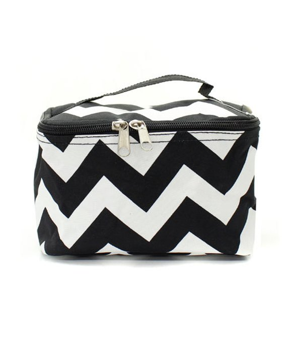 6955b954fbeb Personalized Chevron Cosmetic Bag Black Monogrammed in 2019 ...