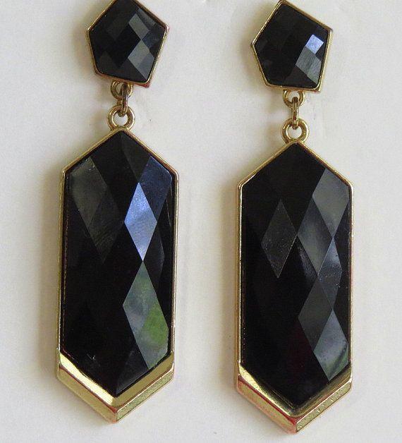 Vintage Black Dangle Earrings Gold Tone by Antiqueandsupplies