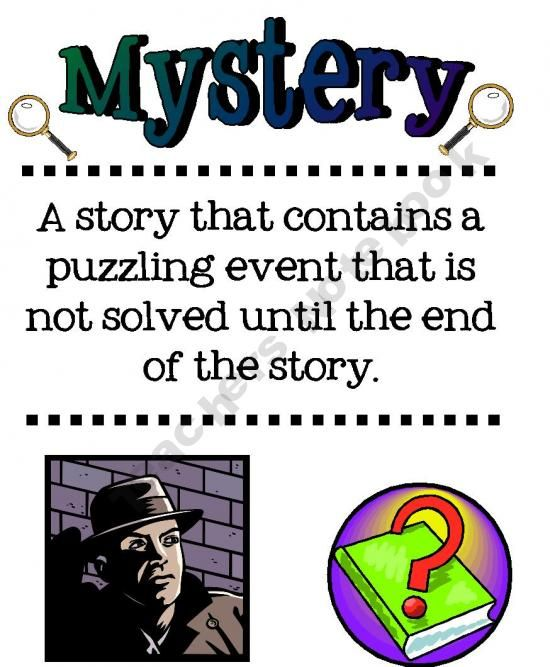 free   mystery genre vocabulary posters (mystery, detective, clue