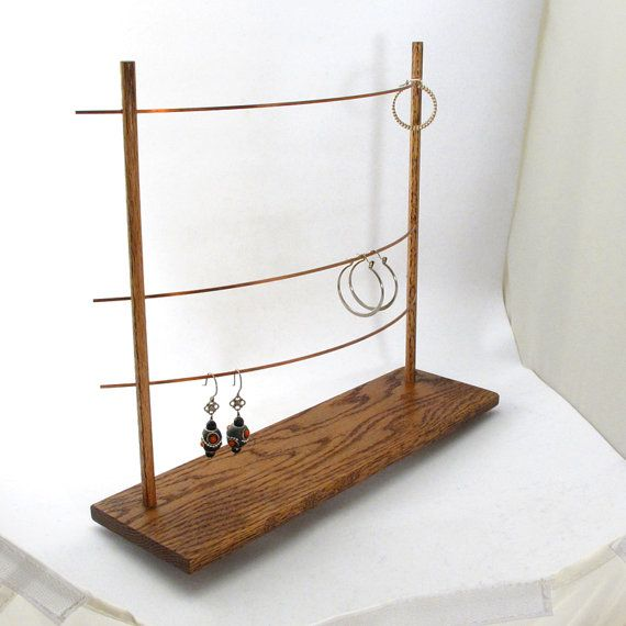 the triple bar earring display holder jewelry display holder copper wood metal booth. Black Bedroom Furniture Sets. Home Design Ideas