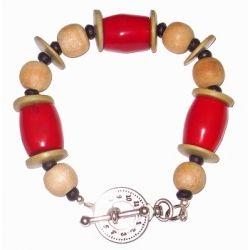 Red, Black and Beige Men's Bracelet
