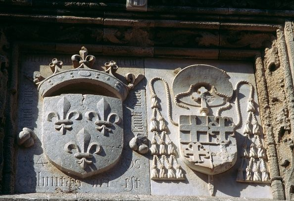 Heraldic symbols on the wall of a building Rhodes Rhodes island Greece