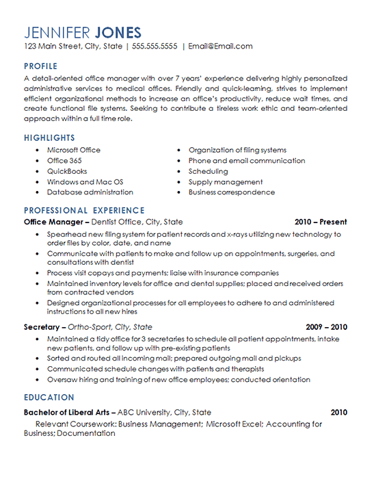 Office Management Job Resume Examples Professional