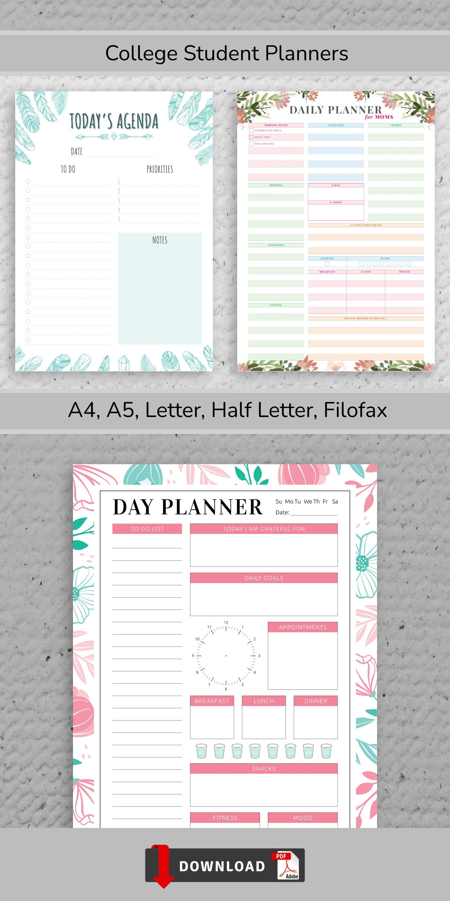 Daily Planner Printable Daily Hourly Schedule Template Etsy Student Planner Printable Schedule Template Student Planner [ 2960 x 1480 Pixel ]