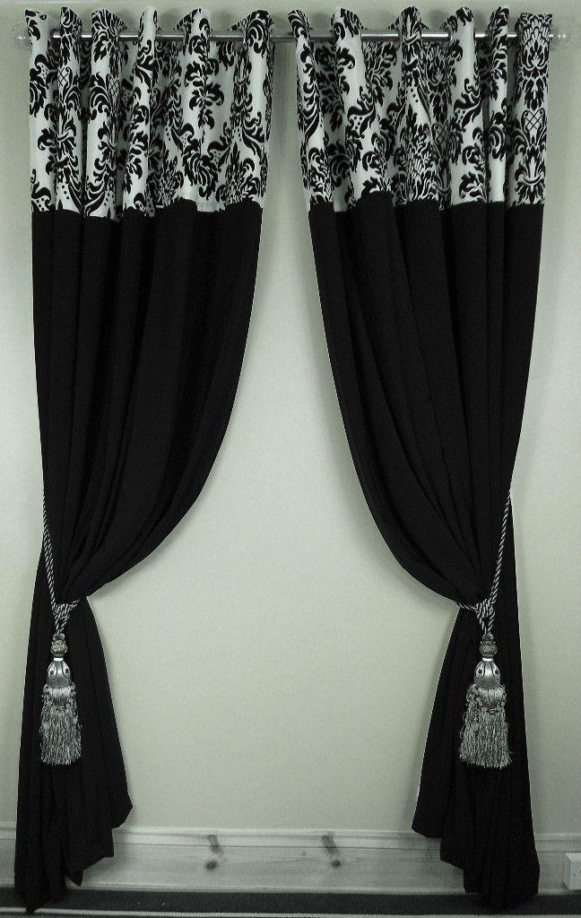 Flock Damask F Lined Eyelet Curtains Black White 3 Size Black