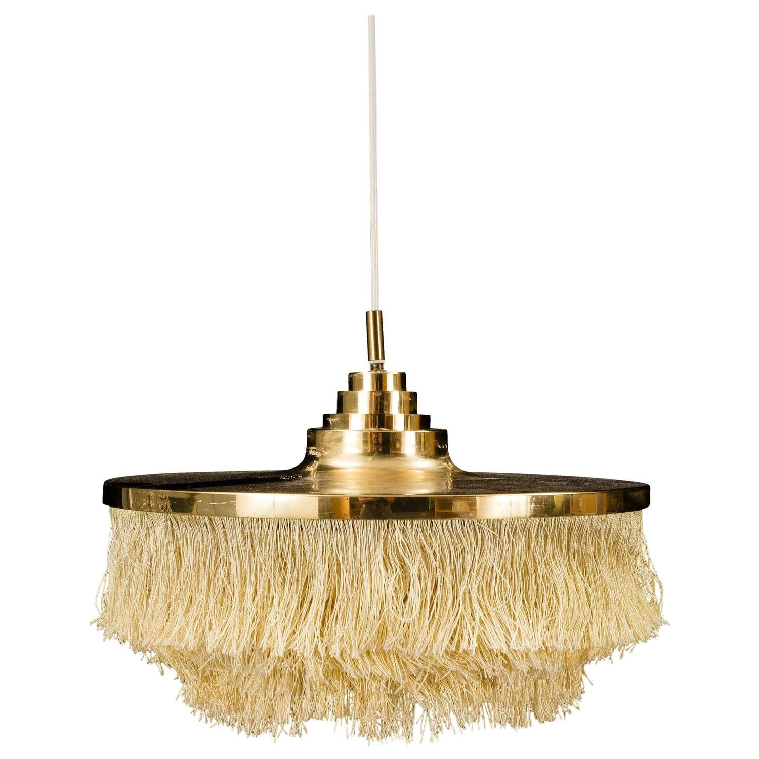 Chandelier with Cr¨me Colored Fringes by Hans Agne Jakobsson