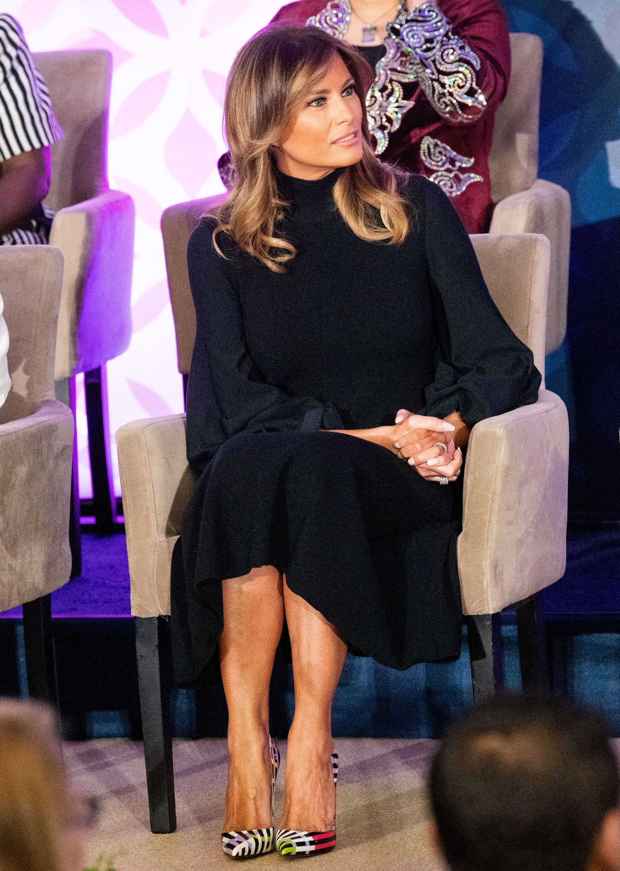 Melania Trump Brightens Her Lbd With Statement Louboutins At The 2020 International Women Of Courage Awards Trump Fashion Fashion Givenchy Dress