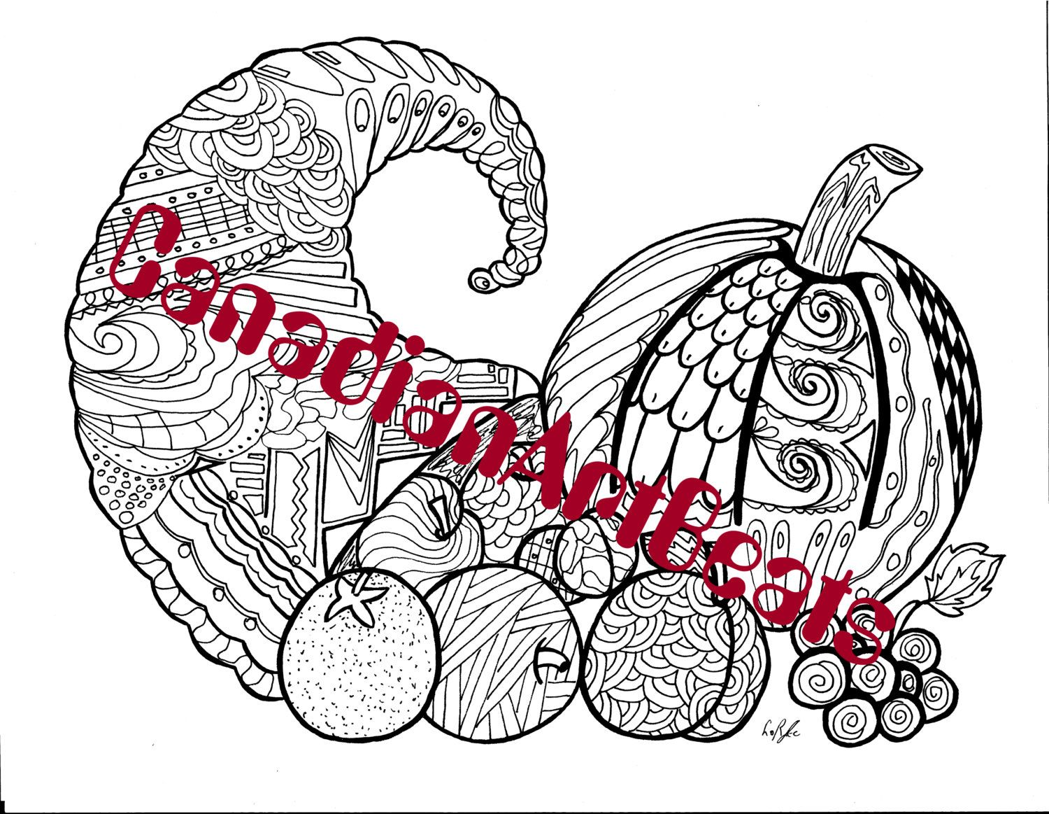 Downloadable Printable Cornucopia Autumn Zentangle ...