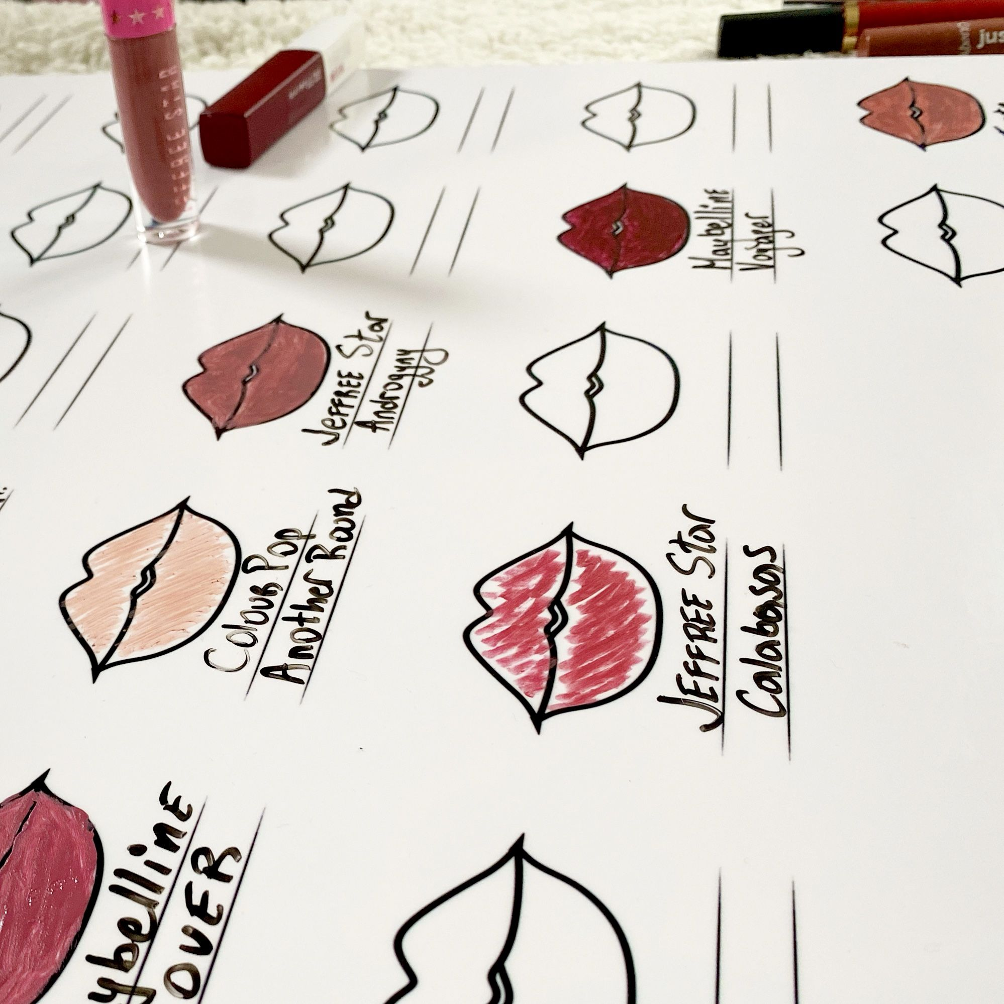 #swatchchart #lipstick #lipstickswatches #beautyroom #makeuproomideas