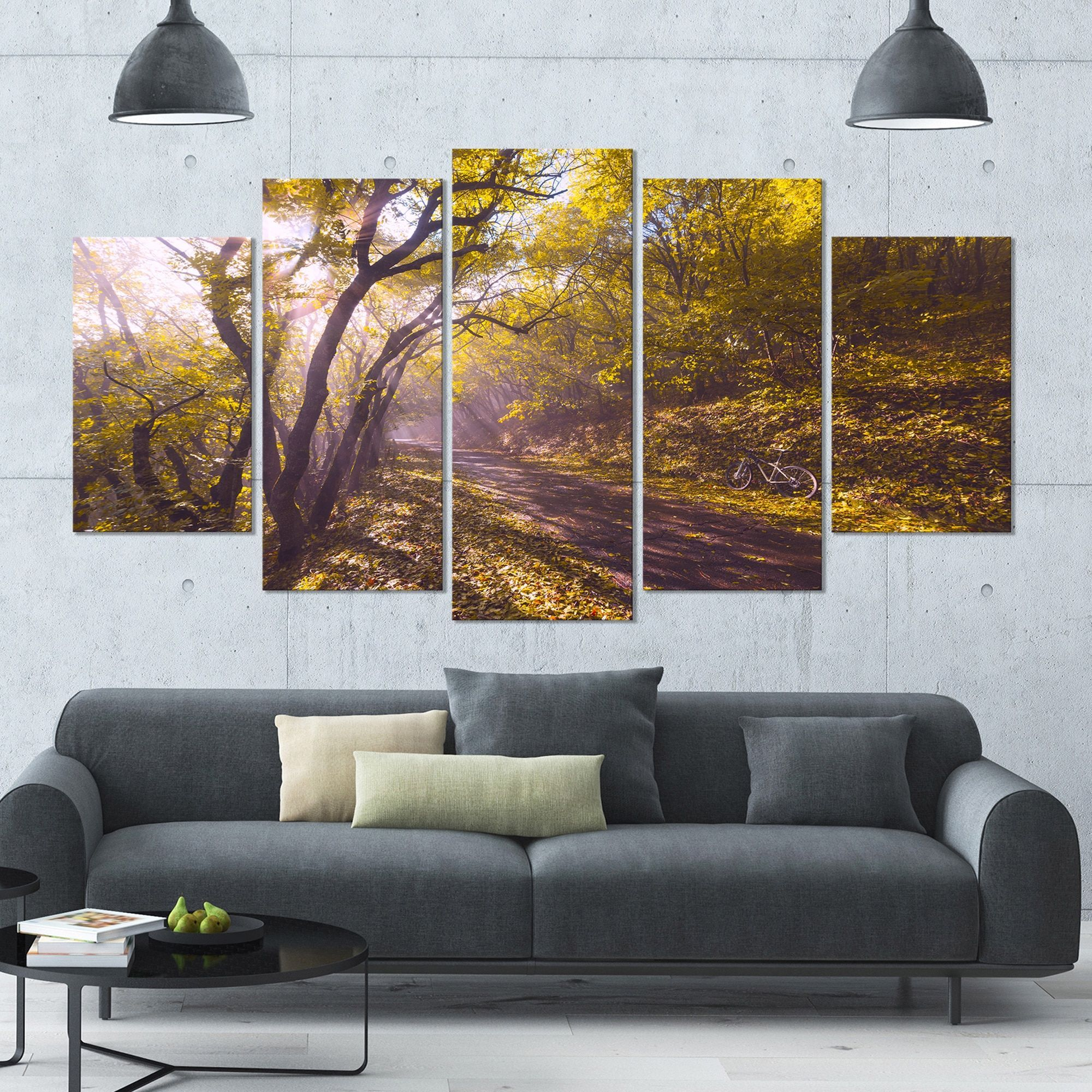 DESIGN ART Designart 'Bicycle Ride in Fall Forest' Landscape Wall Artwork  on Canvas -