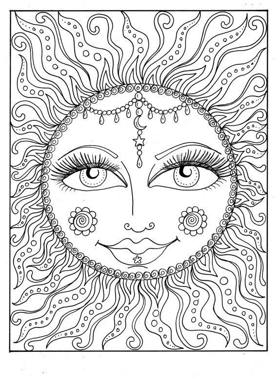 Instant Download Sun Summer Coloring Page Adult Coloring Page To Color Beach Coloring Cosmic Celestial Coloring Pages For Grown Ups Coloring Pages For A