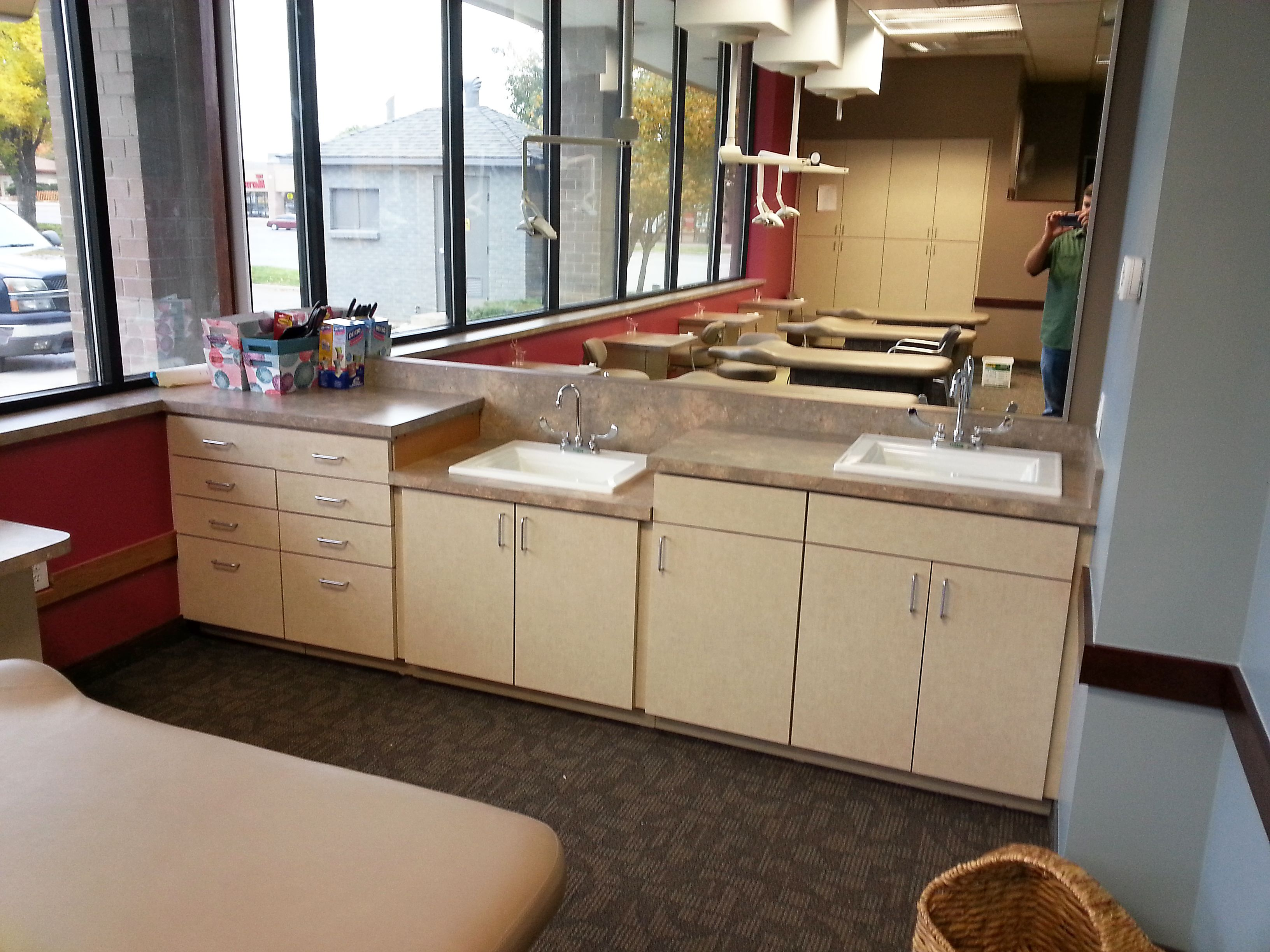 Custom Laminate Cabinets U0026 Countertops: Flax Gauze, Roundover Edge, Self  Edge Slab Door W/ White Melamine Interior, Framless Boxes