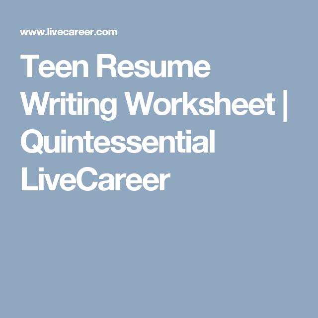 resume writing worksheet