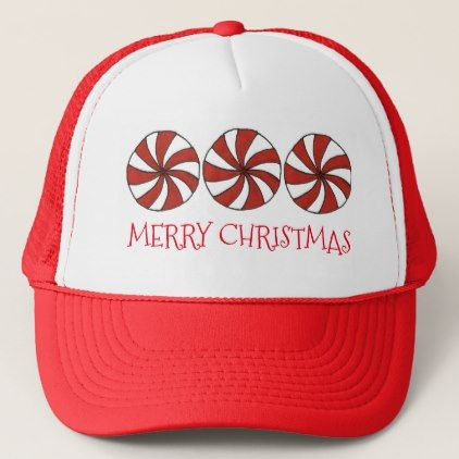 bc711a4fa5ef6 Merry Christmas Red White Peppermint Candy Mint Trucker Hat - holidays diy  custom design cyo holiday family