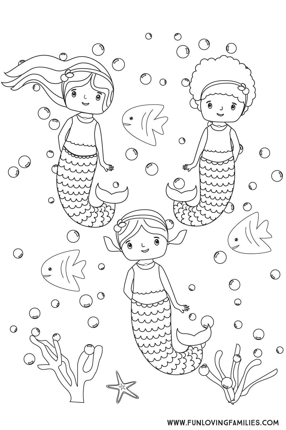 6 Cute Mermaid Coloring Pages For Kids Free Printables Fun Loving Families Mermaid Coloring Pages Mermaid Coloring Printables Free Kids