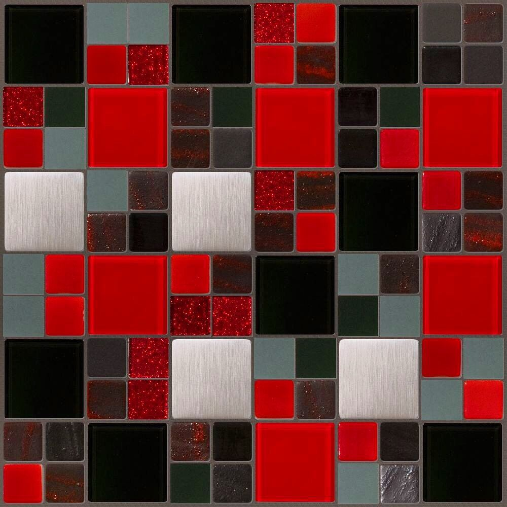 Mosaic Designs Using Red Glass Tiles At Susan Jablon