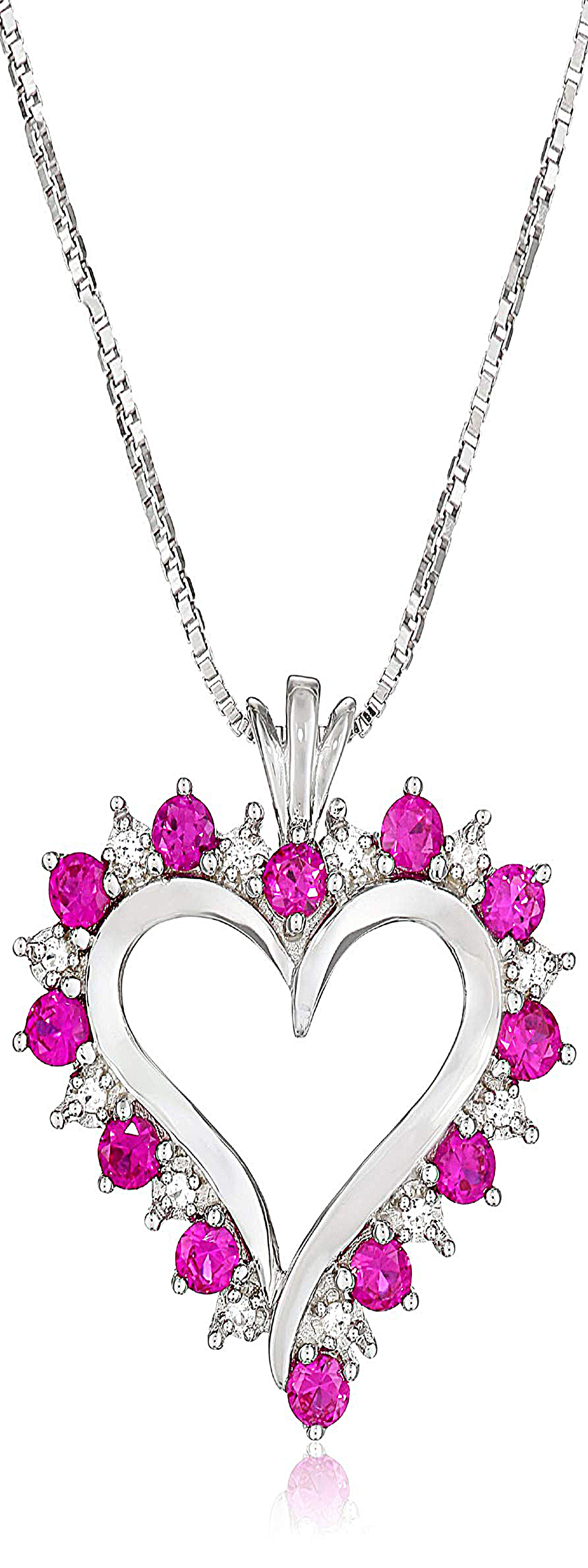 Sterling silver created ruby and white cubic zirconia heart pendant
