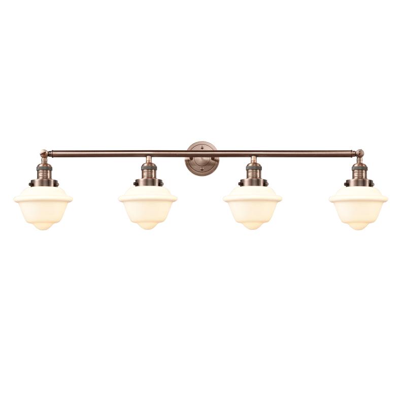 "Photo of Innovationen Beleuchtung 215-S Small Oxford Small Oxford 4 Light 46 ""Breites Badezimmer V Antik Kupfer / Mattweiß Gehäuse Innenbeleuchtung Badezimmerarmaturen"