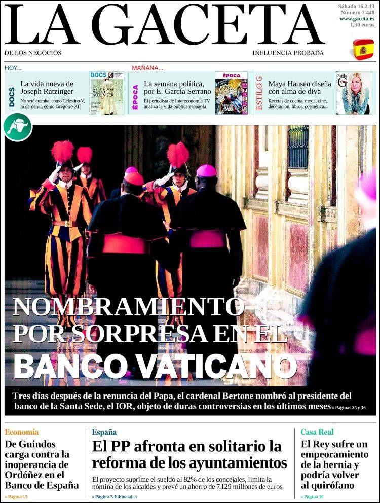 Los Titulares y Portadas de Noticias Destacadas Españolas del 16 de Febrero de 2013 del Diario La Gaceta de los Negocios ¿Que le parecio esta Portada de este Diario Español?