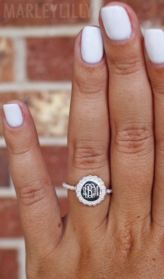 Pearls forever Accessorize with this Monogrammed Pearl Ring from