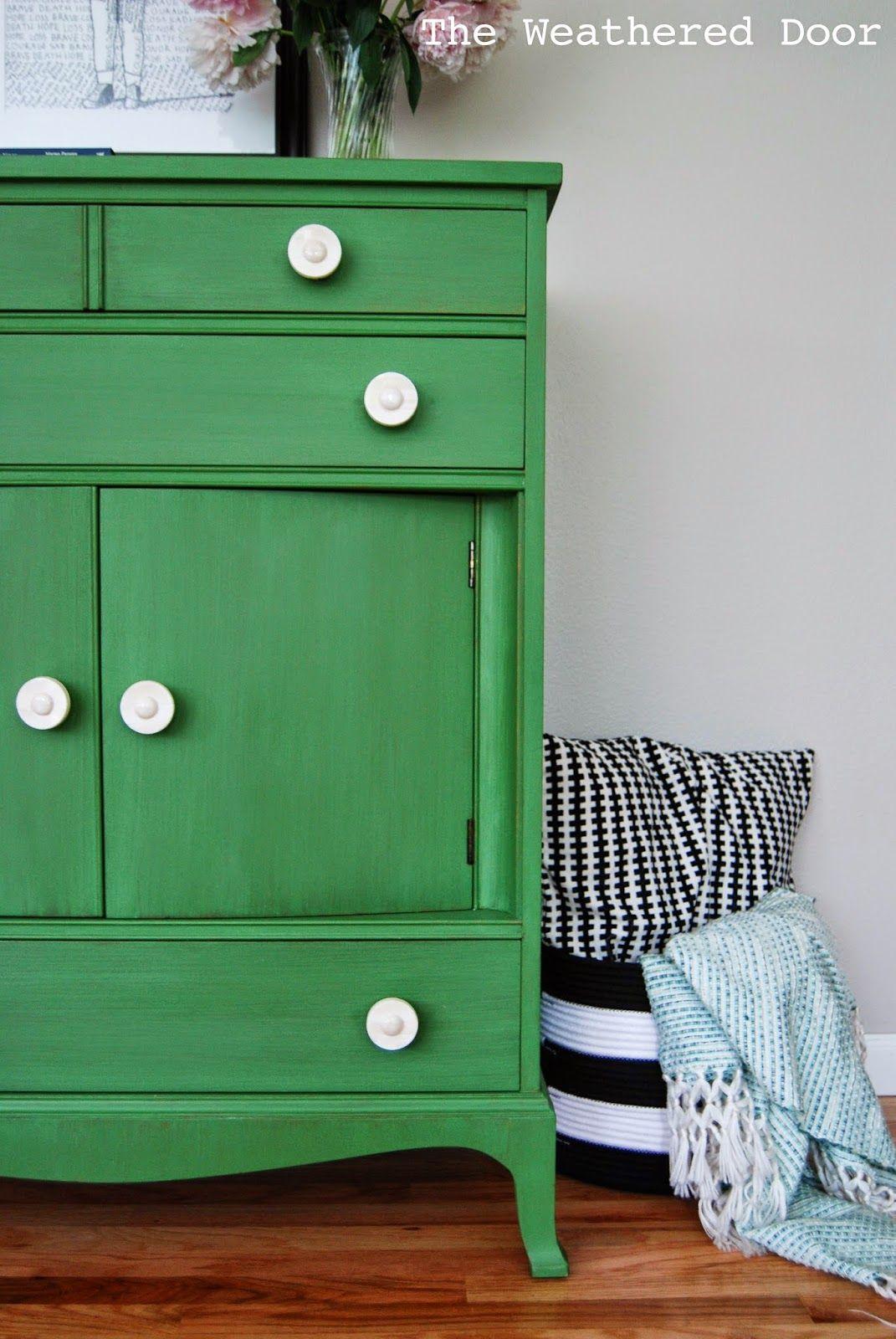 The Weathered Door: Tavern Green Milk Paint Dresser with Bone Knobs