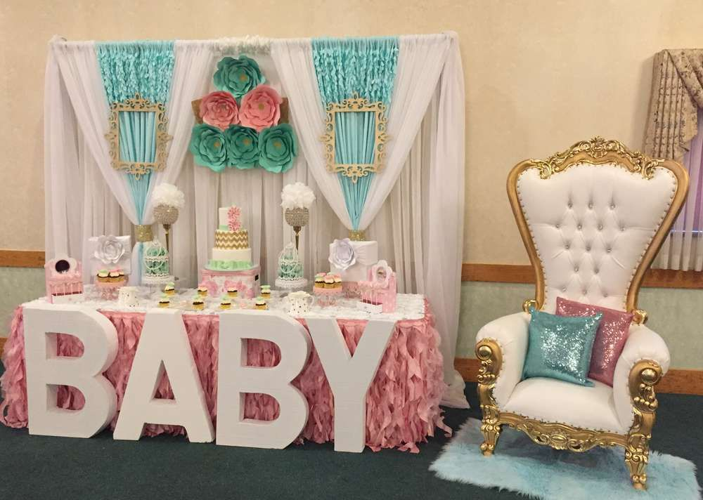 Flowers, Pastel Colors Baby Shower Party Ideas Photo 1