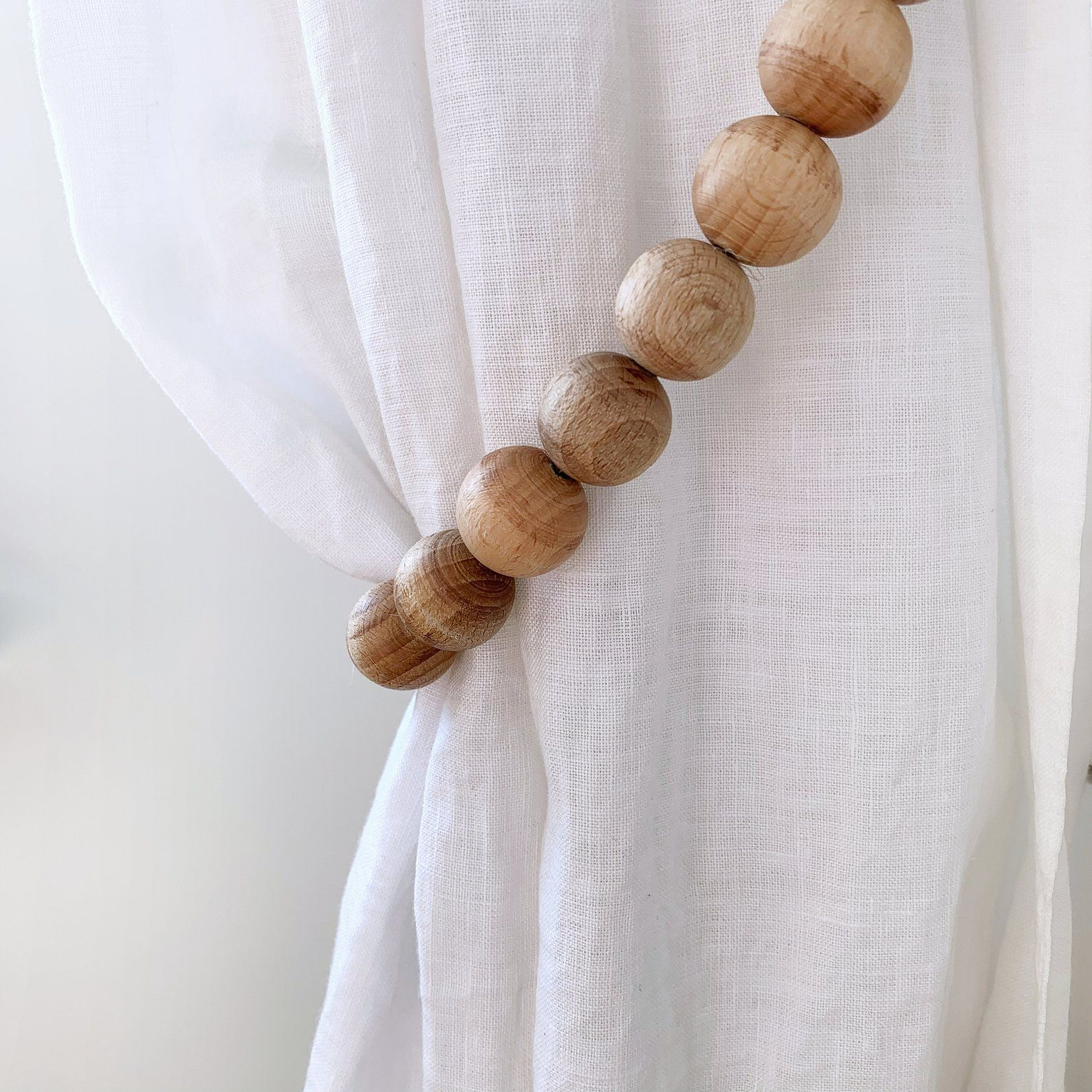 2 Modern Farmhouse Beads For Curtain Ties Natural Wooden Bead