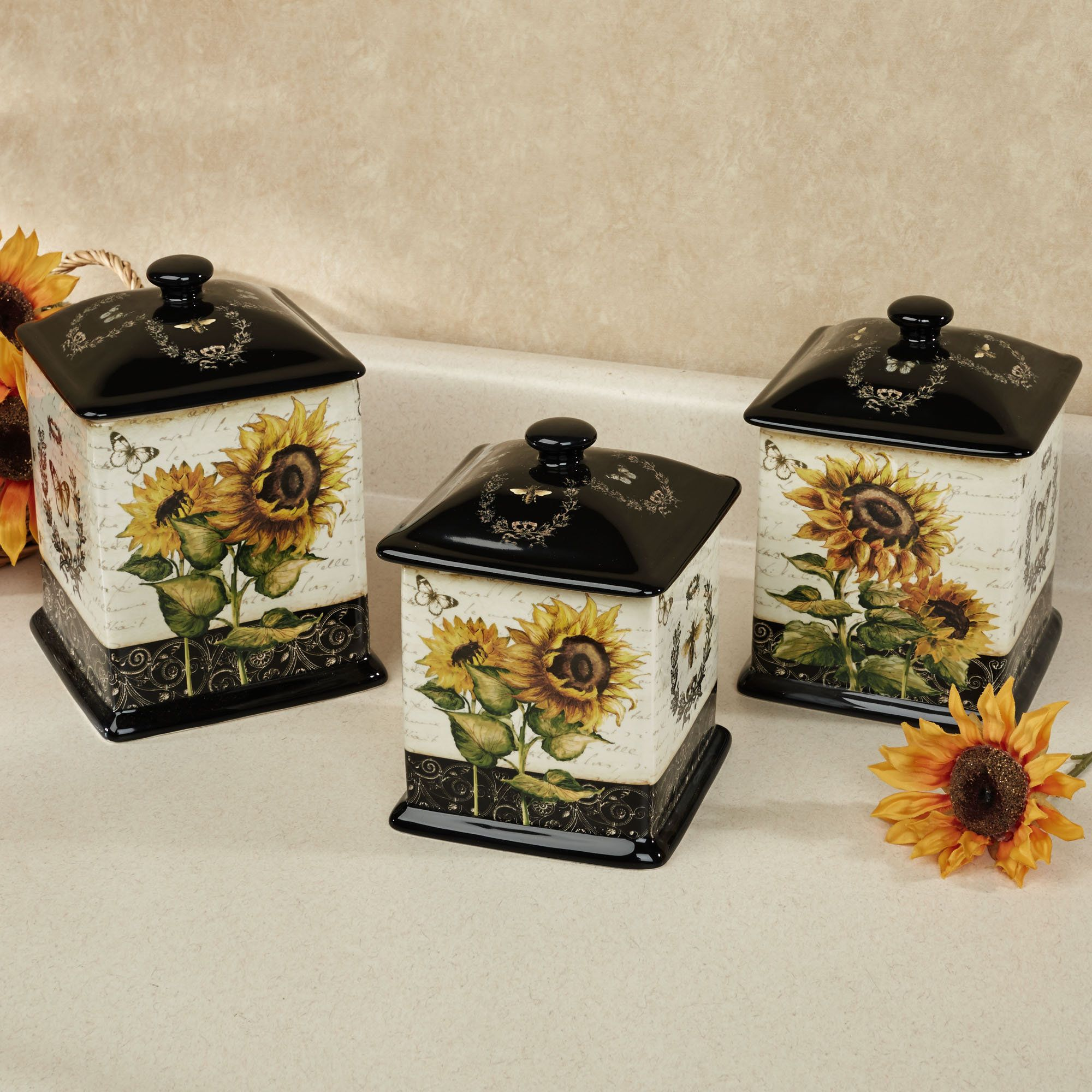French Sunflowers Canister Set Black Set of Three | For the Home ...