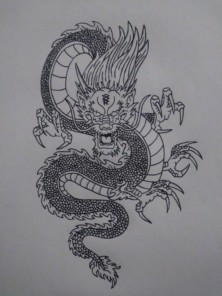 Photo of Chinese dragon I did for my boyfriend. This is part one. Media: Graphite, pen an…