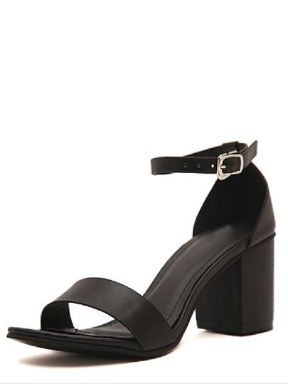 897af519a15880 Black Faux Suede Open Toe Ankle Strap Chunky Sandals -SheIn(Sheinside)  Mobile Site