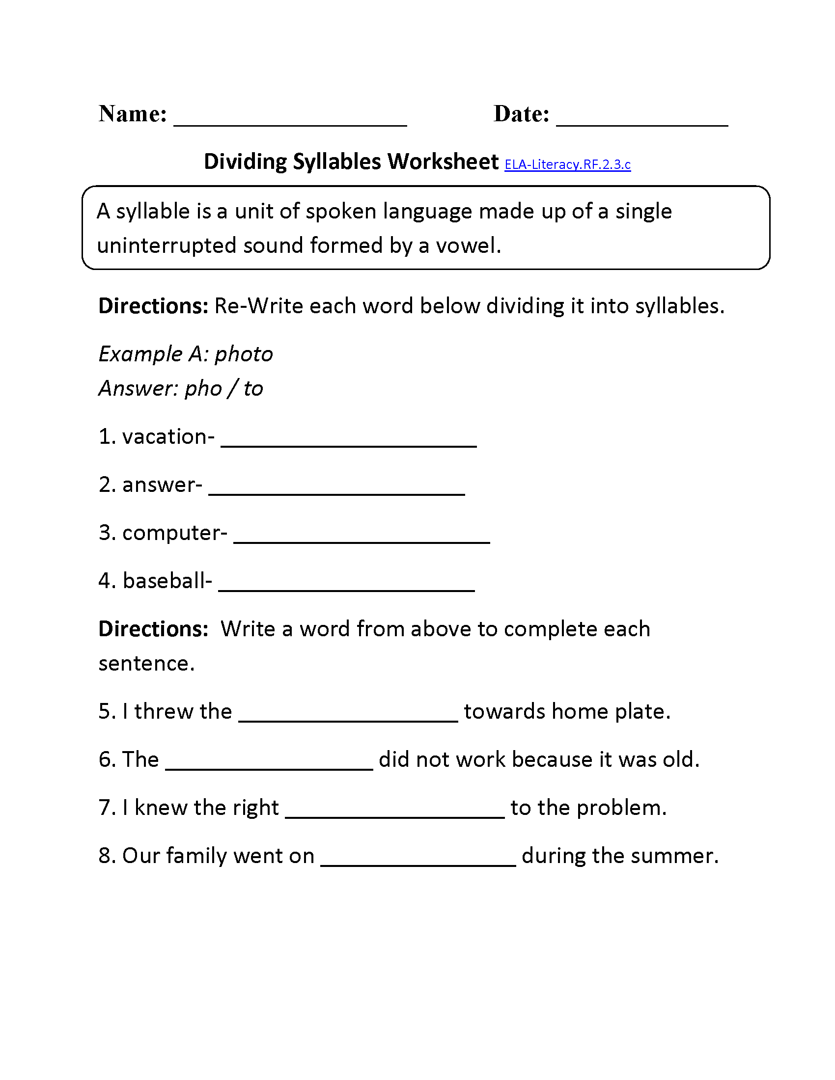 Dividing Syllables Ela Literacy Rf 2 3c Reading