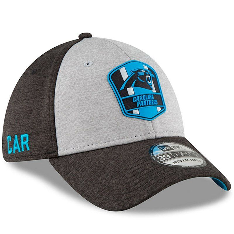 outlet store 31f5f 56316 Carolina Panthers New Era 2018 NFL Sideline Road Official 39THIRTY Flex Hat  – Heather Gray Black